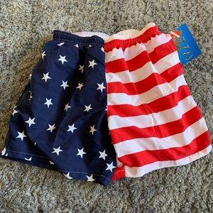 fa21cea5e6 UZZI NWT American Flag Swim Trunks
